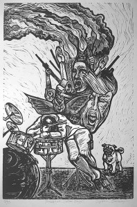 "Cynthia Cratsley ""Besieged - After Goya"" approx. 22x18 limited edition linocut $260. Inquire"