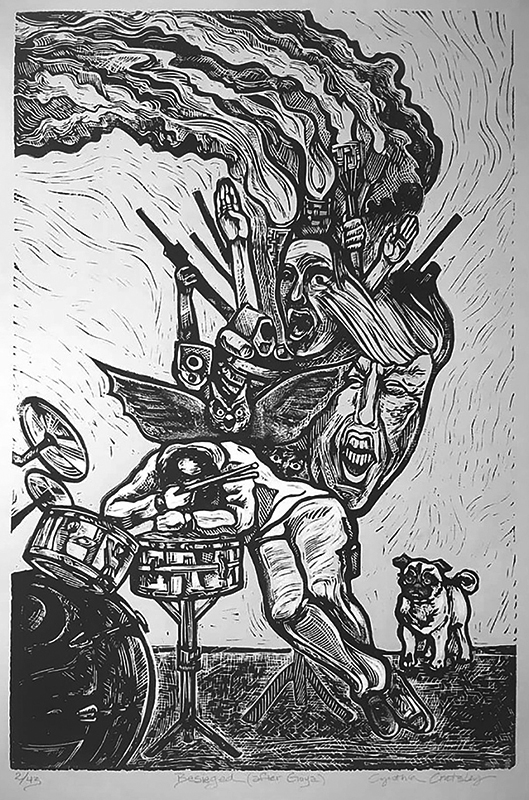 "Cynthia Cratsley ""Besieged - After Goya"" approx. 22x18 linocut $260. INQUIRE *"