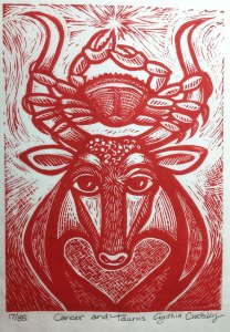 "Cynthia Cratsley ""Cancer and Taurus"" 7x5 linocut $160."