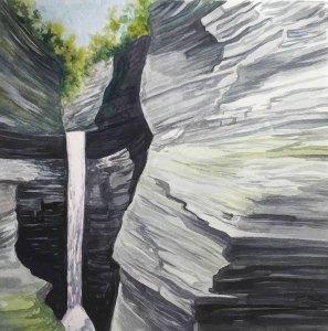 "Cynthia Cratsley ""Cascade Falls"" 6x6 watercolor $195."