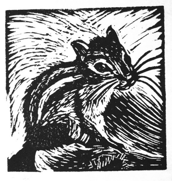 "Cynthia Cratsley ""Chipmunk"" 3x3 signed signed and numbered linocut $40. Inquire on availability INQUIRE about entire series of animals"