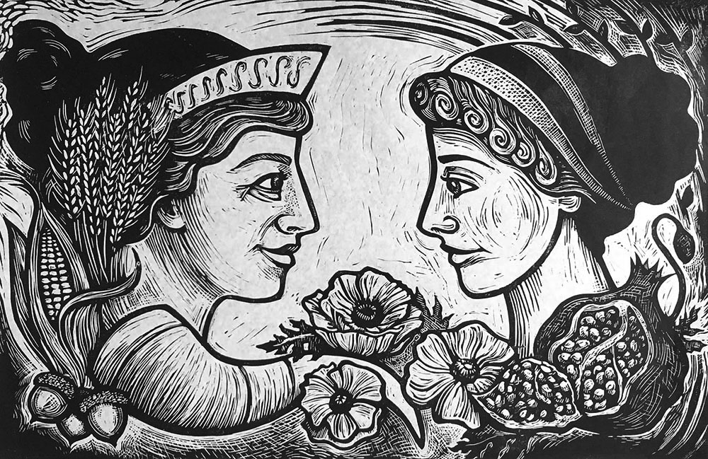 "Cynthia Cratsley ""Demeter and Persephone"" 12x18 linocut $350."