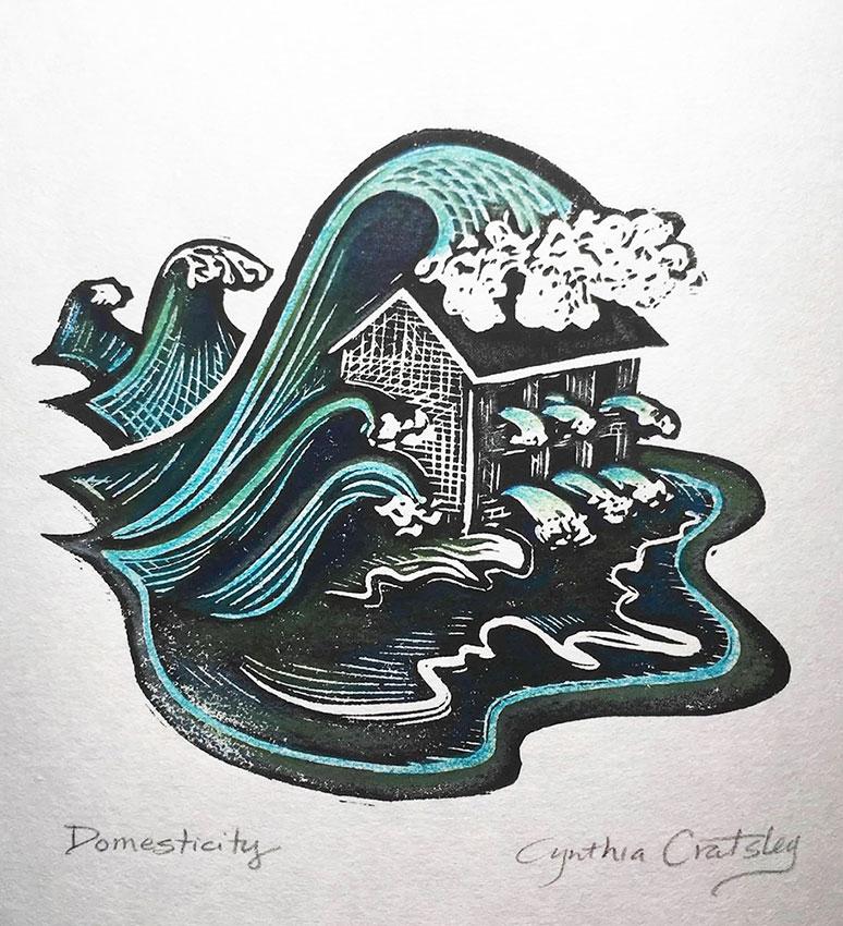 """Cynthia Cratsley """"Domesticity"""" 5x5 linocut w/ colored pencil $130. Inquire"""