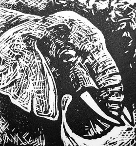 "Cynthia Cratsley ""Elephant"" 4x4 limited edition linocut $40. Inquire"