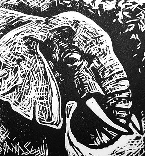 "Cynthia Cratsley ""Elephant"" 4x4 linocut $40. Inquire"