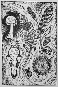 "Cynthia Cratsley ""Forest Treasures"" 24x18 signed and numbered linocut $280. Inquire on availability"