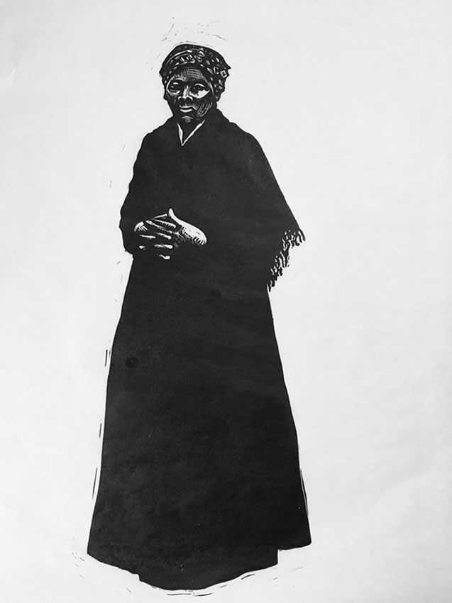 "Cynthia Cratsley ""Harriet Tubman"" 18x10 linocut $275. SOLD Inquire on limited edition availability"