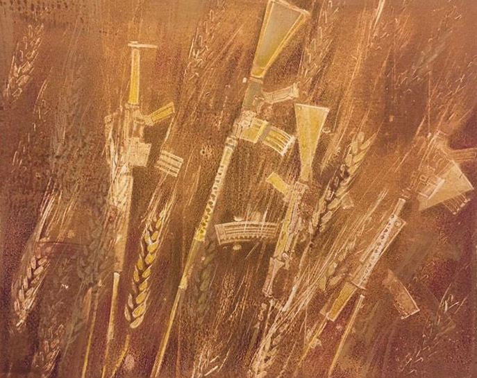"Cynthia Cratsley ""Homegrown, Amber Waves of Grain"" 8x10 monoprint $325. framed/$250. unframed Inquire"