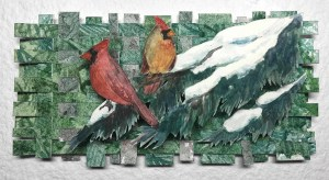 """Cynthia Cratsley """"Pair of Cardinals on Snowy Pine"""" 7x4 watercolor $95."""