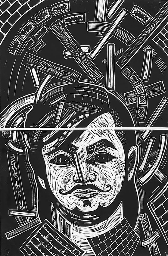 "Cynthia Cratsley ""Caleb Harrington at Age 25"" 12x8 linocut $325. INQUIRE *"