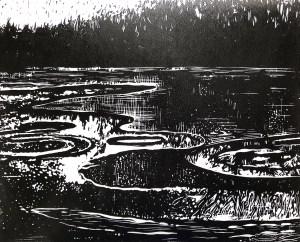 "Cynthia Cratsley ""Icy Reflections, Cayuta Lake"" 8x10 linocut $300."
