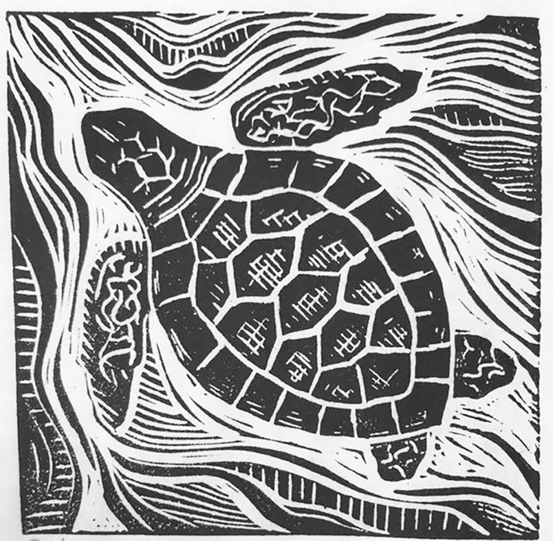 "Cynthia Cratsley ""Sea Turtle"" 3x3 linocut $50."