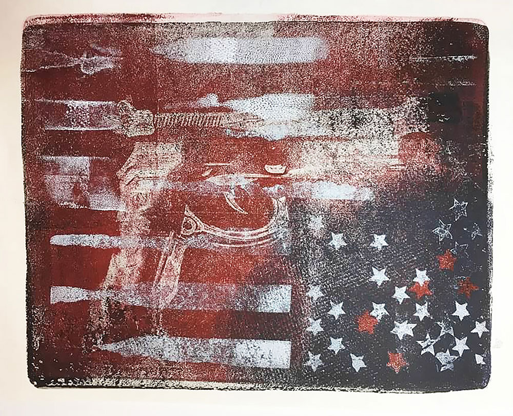 "Cynthia Cratsley ""State of the Union"" 9x10 monoprint $325. Inquire"