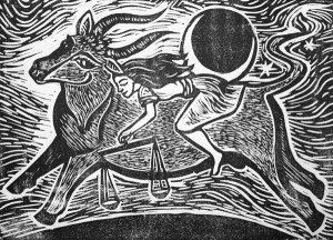 "Cynthia Cratsley ""Taurus and Astraea"" 5x7 signed and numbered linocut $125. Inquire on availability"