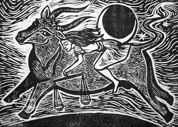 "Cynthia Cratsley ""Taurus and Astraea"" 5x7 linocut $125. INQUIRE *"