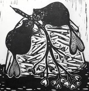 "Cynthia Cratsley ""Couple Goals - Valentine Beavers"" 6x6 linocut $120."