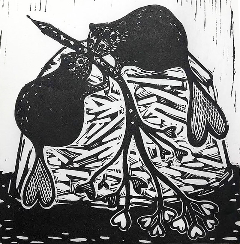"Cynthia Cratsley ""Couple Goals - Valentine Beavers"" 6x6 linocut $120."