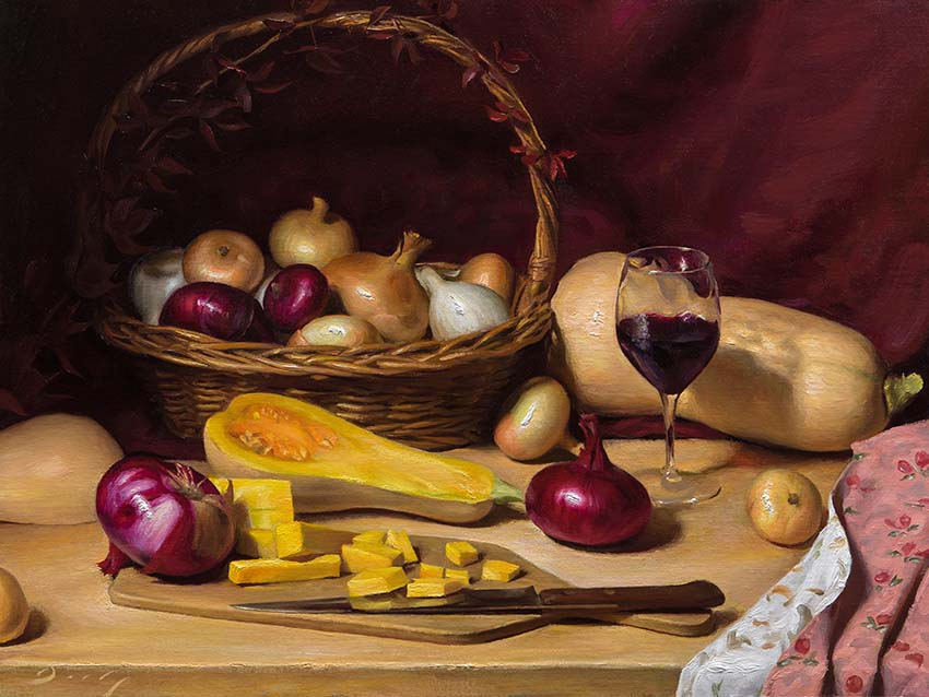 "Joseph Q. Daily ""Autumn Table"" 18x24 oil $2,700."
