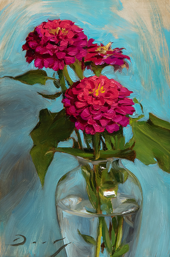 "Joseph Q. Daily ""Zinnias - Oct 2017"" 9x6 oil $850."
