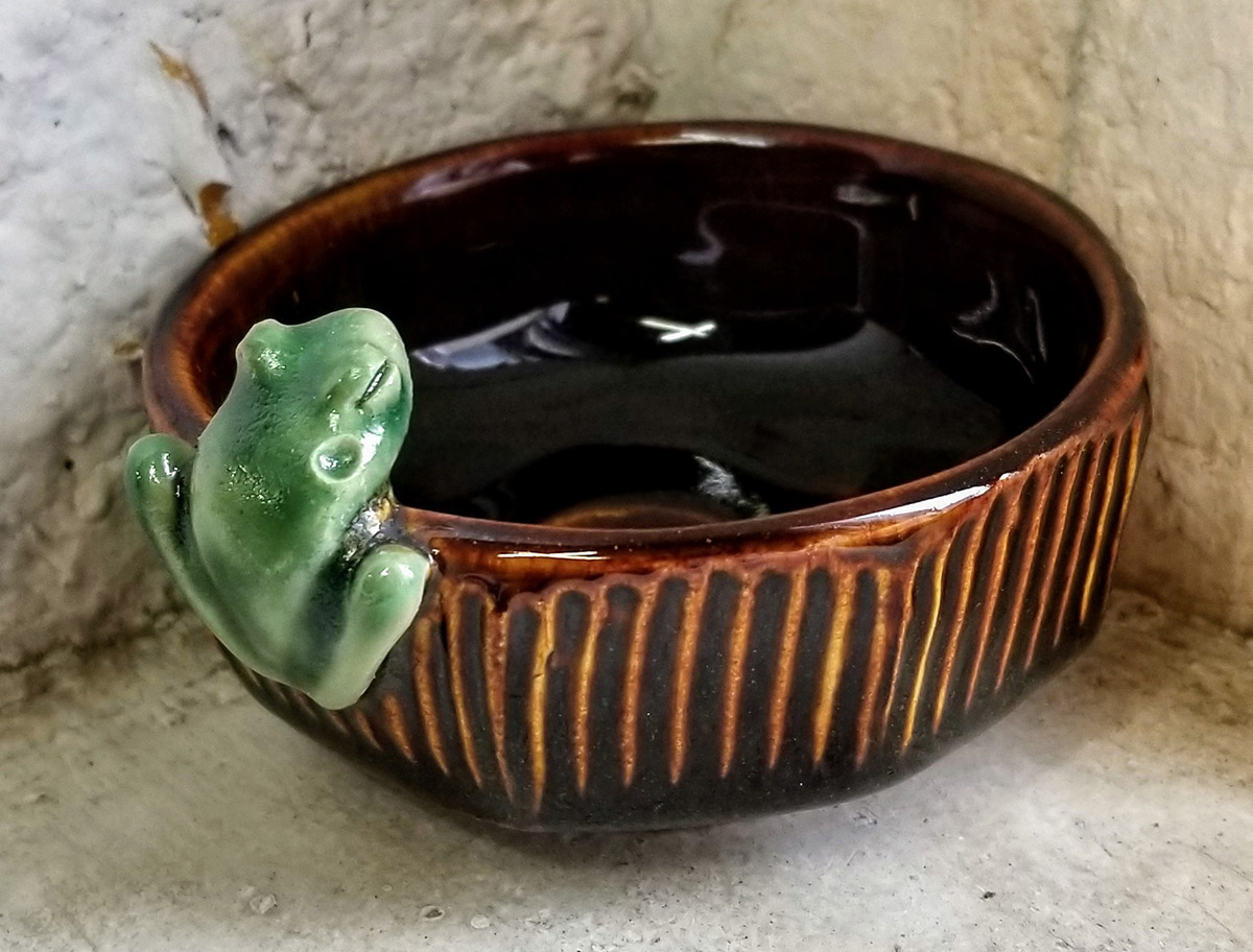 "Carolyn Dilcher-Stutz ""Tiny Frog Bowl - Brown"" $40. Inquire on availability"