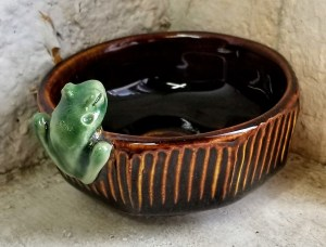 """Carolyn Dilcher-Stutz """"Tiny Frog Bowl - Brown"""" $40. Inquire on availability"""