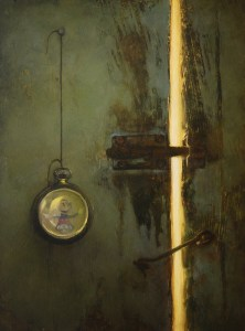 "Martin A. Poole ""Door and Mickey - Hands of Time"" 12x9 oil $1,100. SOLD"