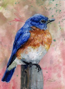"Jennifer Fais ""Bluebird on Mars"" 5x4 watercolor on marbleized paper $160."