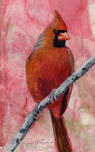 "Jennifer Fais ""Cardinal on Mars"" 5x3 watercolor on marbleized paper $140."