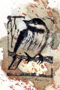 "Jennifer Fais ""Chickadee: Autumn"" 2x3 hand-painted block print $50."