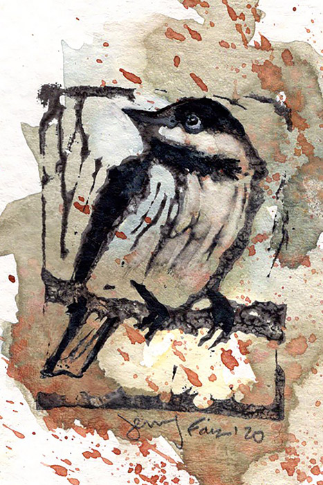 "Jennifer Fais ""Chickadee: Autumn"" 2x3 hand-painted block print $50."
