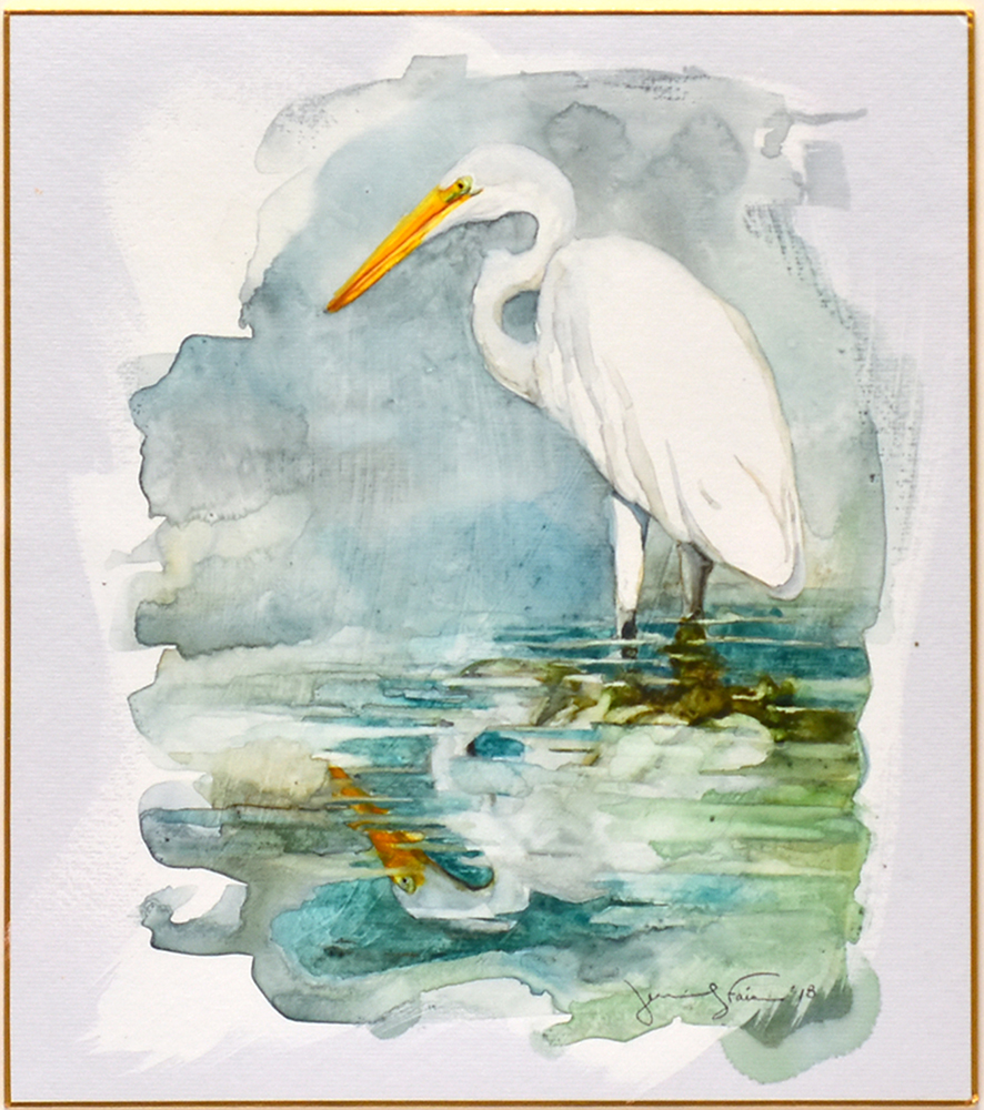 "Jennifer Fais ""Egret: On Reflection"" 10x9 watercolor/acrylic on Japanese board $350. SOLD"