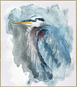 "Jennifer Fais ""Heron: In Reverie"" 10x9 watercolor/acrylic on Japanese board $350."