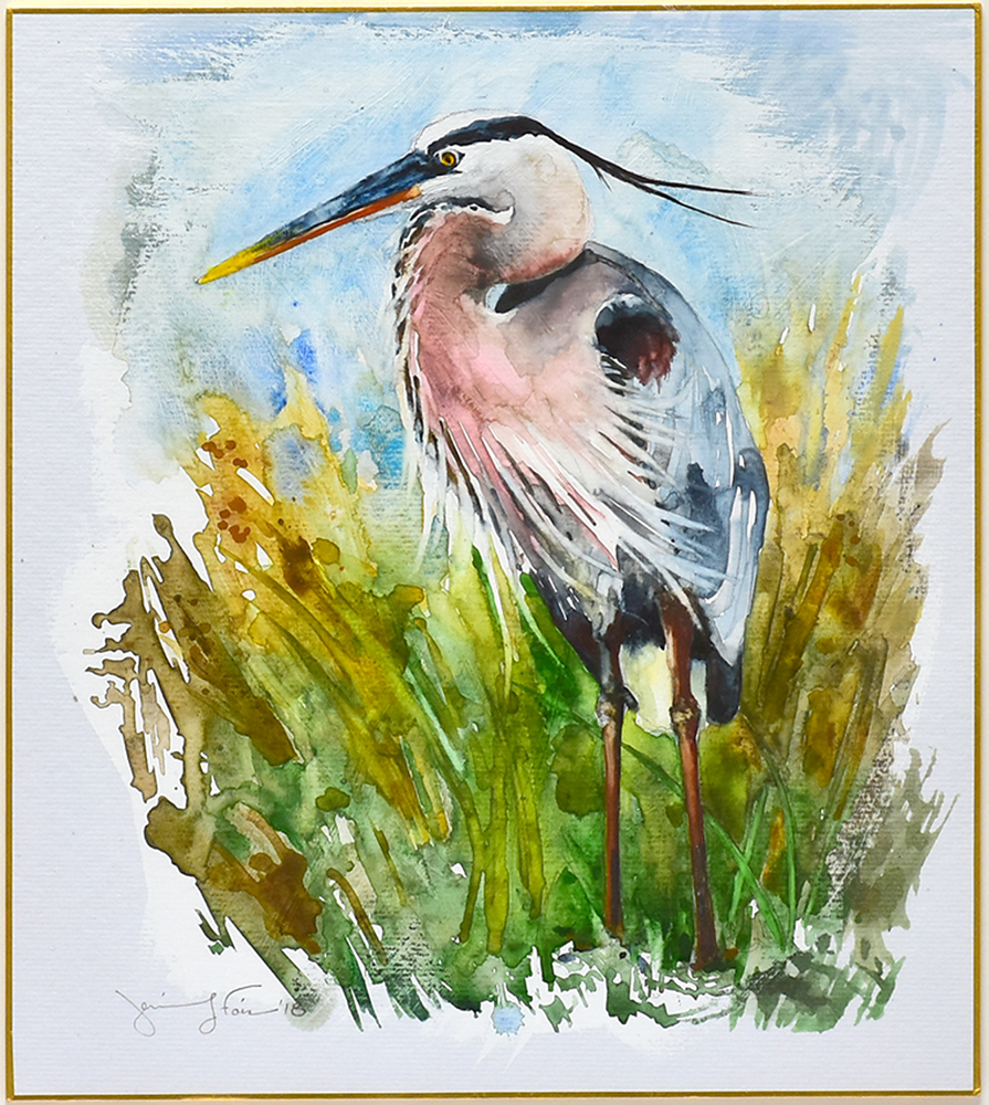 "Jennifer Fais ""Heron: In Sedge"" 10x9 watercolor/acrylic on Japanese board $350."