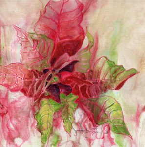 """Jennifer Fais """"Red Poinsettia on Mars"""" 5x5 watercolor on marbleized paper $160."""