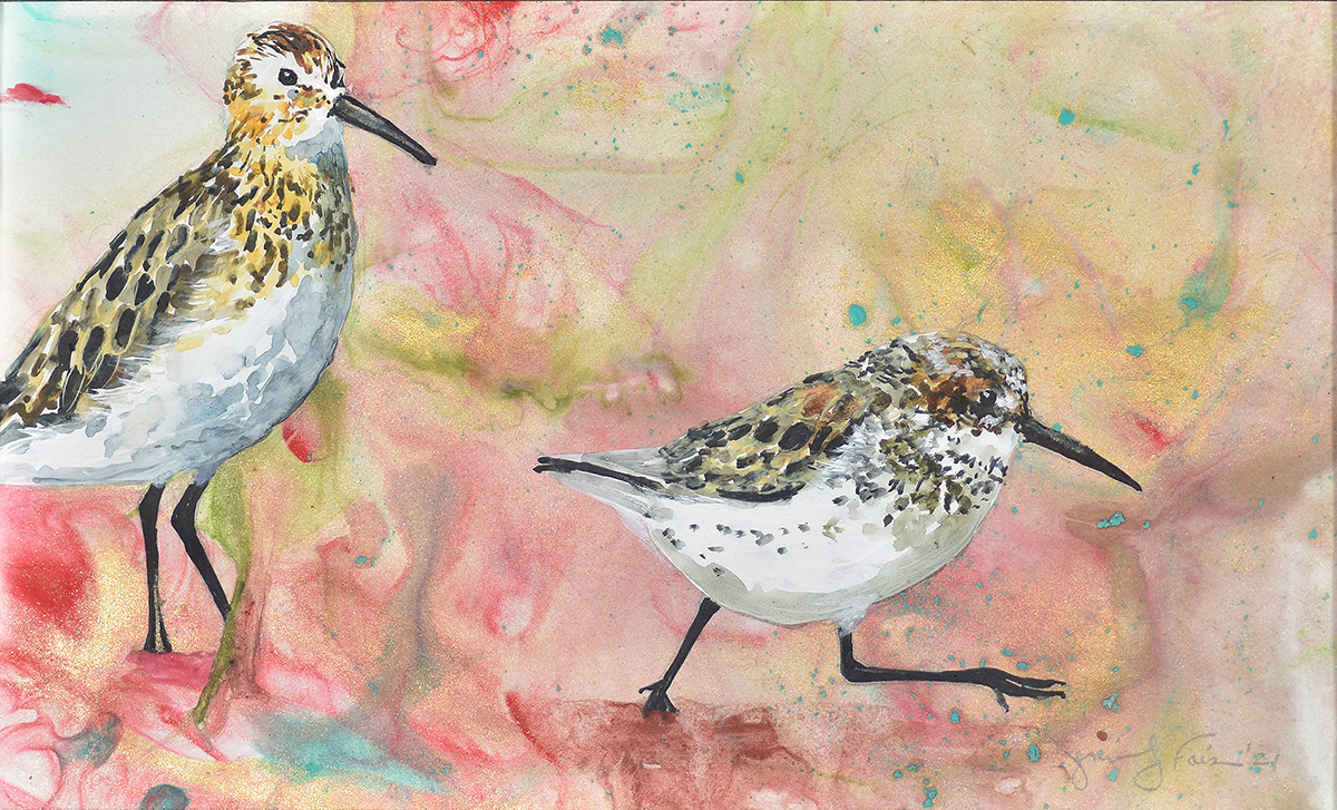 """Jennifer Fais """"Sandpipers on Mars"""" 9.5x6 watercolor on marbleized paper $190."""