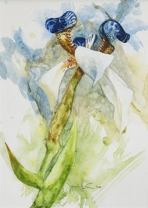 "Jennifer Fais ""Walking Tall"" 10.5x7.5 watercolor/acrylic $300."