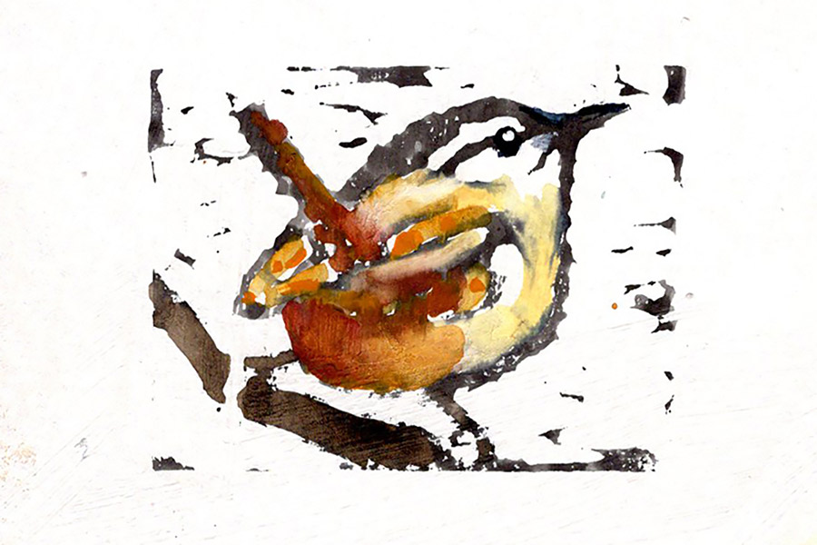 "Jennifer Fais ""Wren: Full Color"" 2x3 hand-painted block print $50. SOLD"
