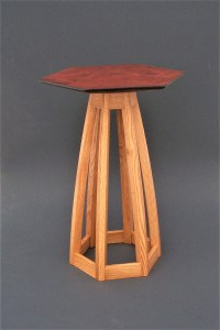 "Tracy Fiegl ""Hex Pedestal"" 32x23x20 maple, oak, stain $1,200."
