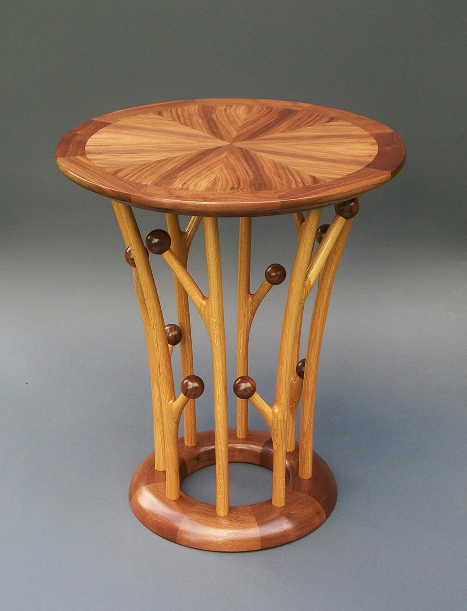 """Tracy Fiegl """"Pome"""" 28x24x24 walnut veneer, walnut, white oak $2,450."""