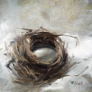 "Rebecca Finch ""Safe and Sound"" 5x5 oil $250. SOLD"