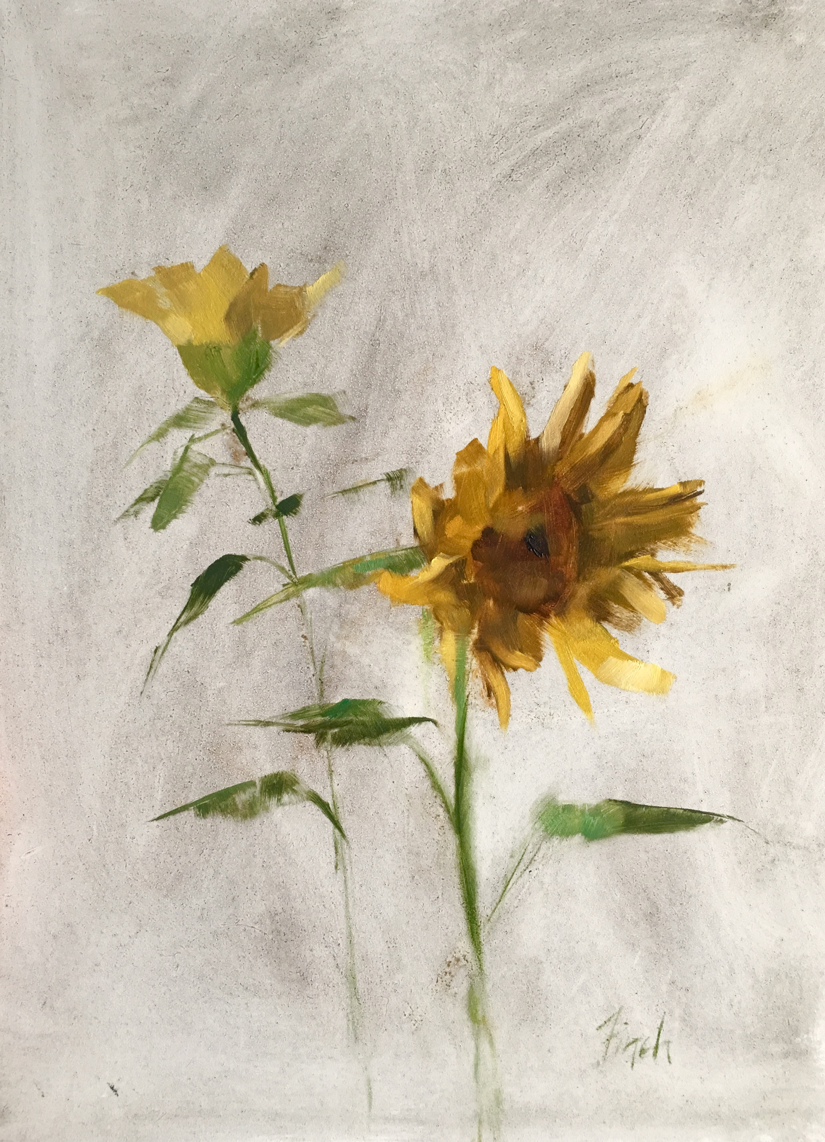 "Rebecca Finch ""Sunflower Therapy"" 12x9 oil $575."