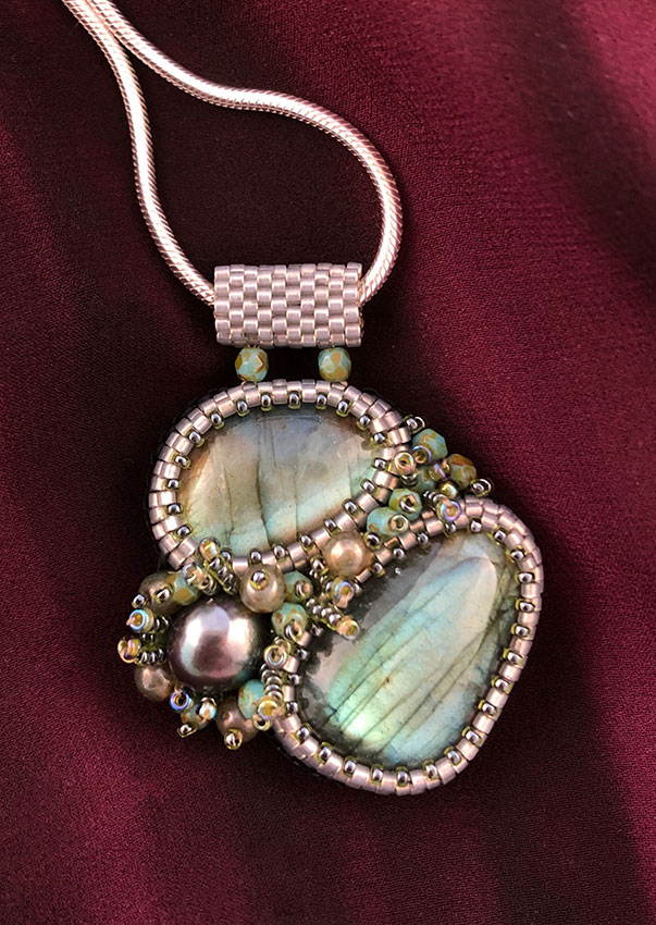 "San Fortune ""Labradorite Pendant - 2 Stones"" (View A) with freshwater pearl, glass seed beads 18"" sterling silver chain $186."