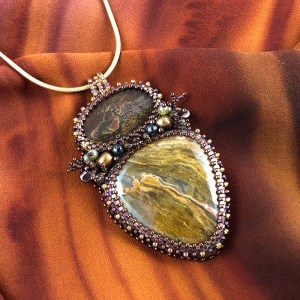"""San Fortune """"Opal Pendant"""" (view B) 1 boulder opal, 1 opal agate surrounded by glass seed bead bezels, freshwater pearls, various size glass beads (pendant 3.25""""x1.75"""") 18"""" gold-filled snake chain $246."""