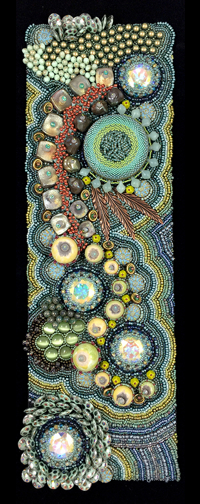 "San Fortune ""Tide Pool"" bead embroidery and bead weaving 15.5x5 on framed panel $1,450. Inquire"