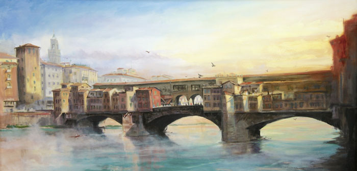 "Tom Gardner ""Arno Sunrise"" 24x48 oil $3,400."