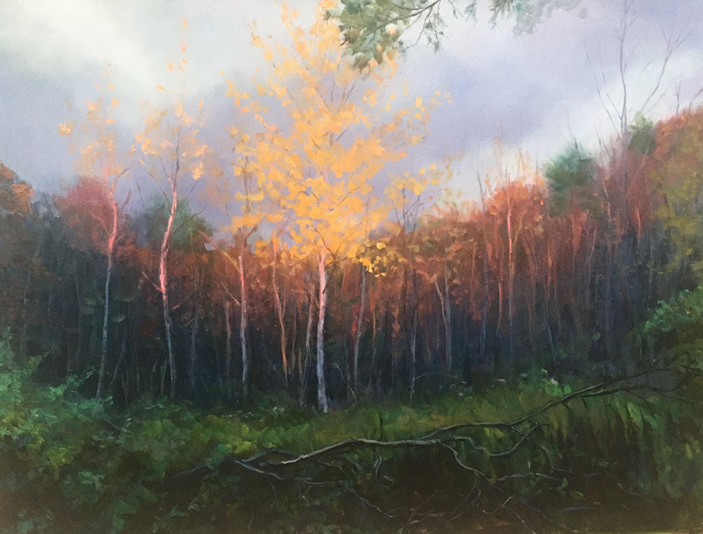 "Tom Gardner ""Autumn Sundown"" 30x40 oil $3,200."
