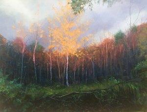 """Tom Gardner """"Autumn Sundown"""" 30x40 oil $3,200."""
