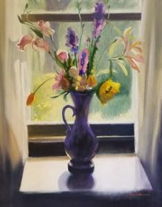 """Tom Gardner """"Backlit Bouquet"""" 24x20 oil $1,850."""