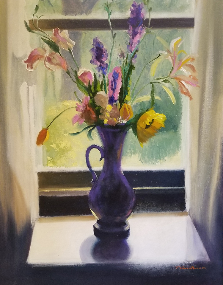 "Tom Gardner ""Backlit Bouquet"" 24x20 oil $1,850."
