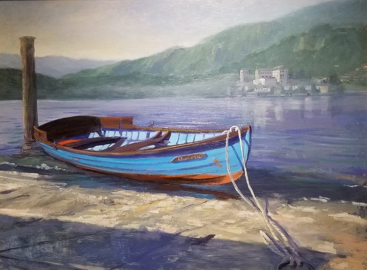 "Tom Gardner ""Blue Boat"" 18x24 oil $1,800."